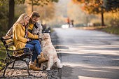 Happy couple sitting on a park bench with their dog and enjoying in autumn day.