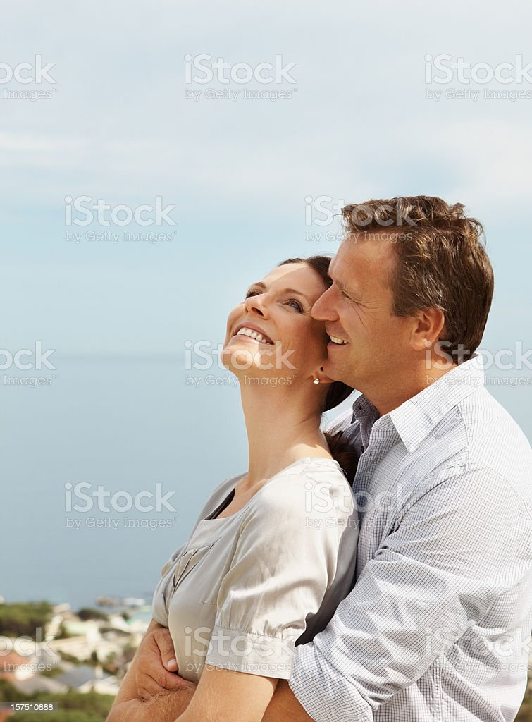 Happy couple romancing outdoors royalty-free stock photo