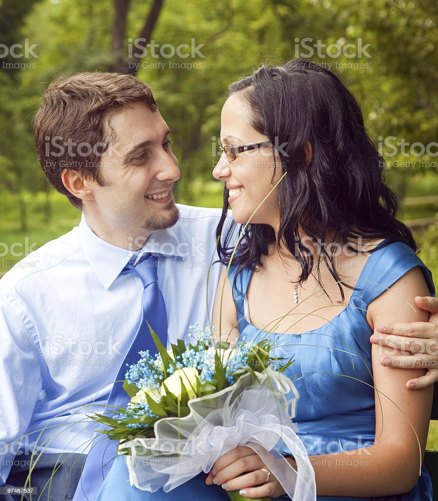 Happy couple sharing a romantic intimate moment royalty-free stock photo