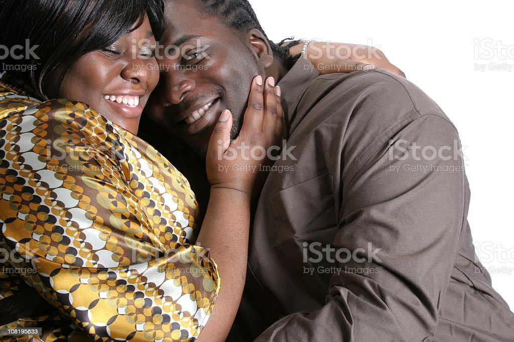 Happy Couple Smiling, White Background stock photo