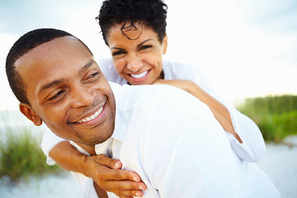 Happy couple spending quality time together stock photo