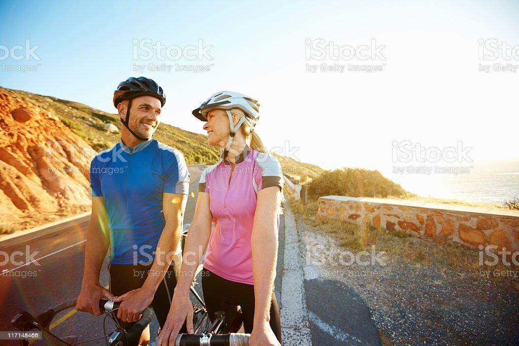 Happy couple taking a break royalty-free stock photo