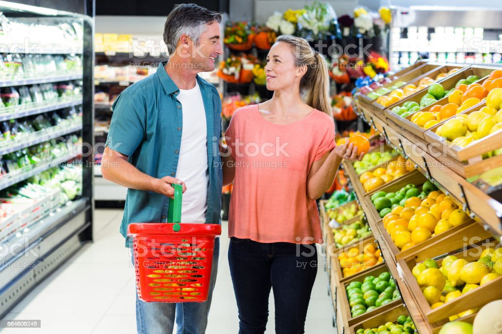 Happy couple talking stock photo