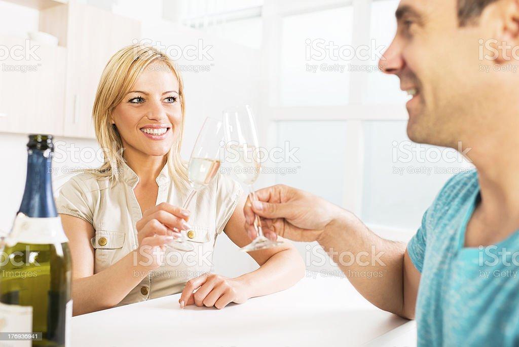 Happy couple toasting. royalty-free stock photo