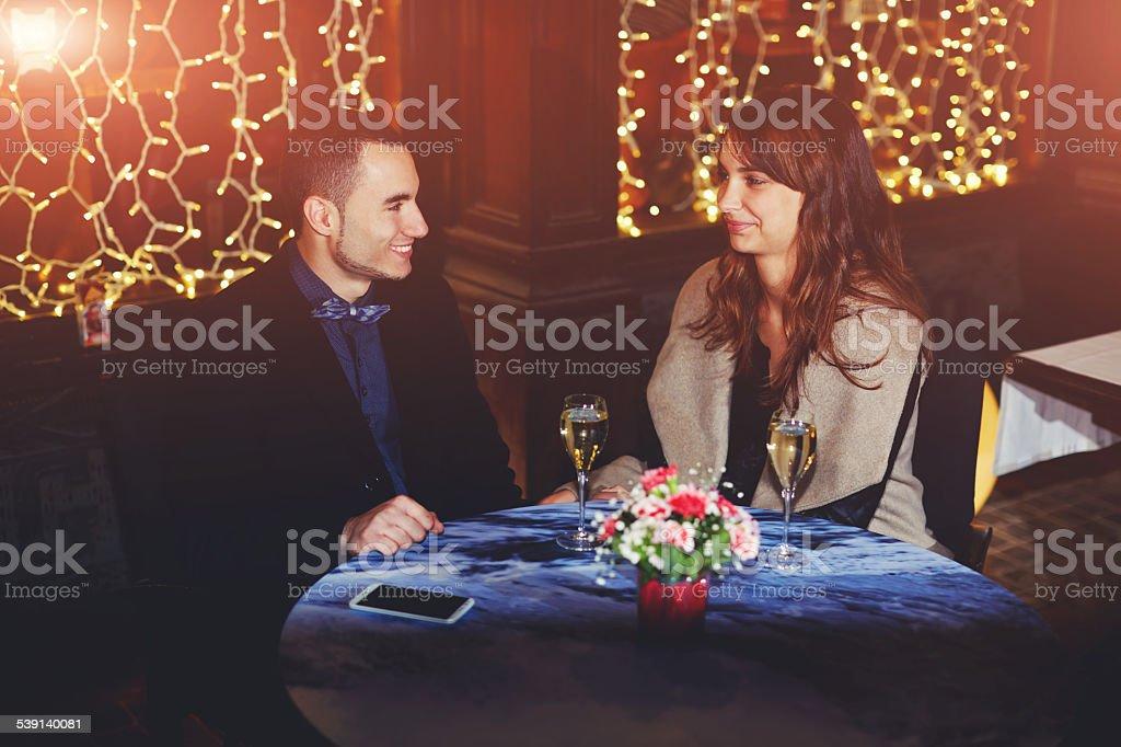 happy couple waitin his diiner stock photo