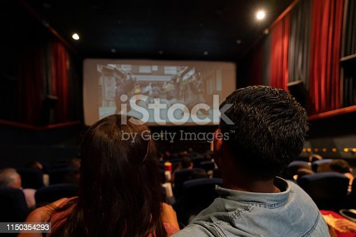 Happy couple watching a movie at the cinema - entertainment concepts **Image on the screen is ours**