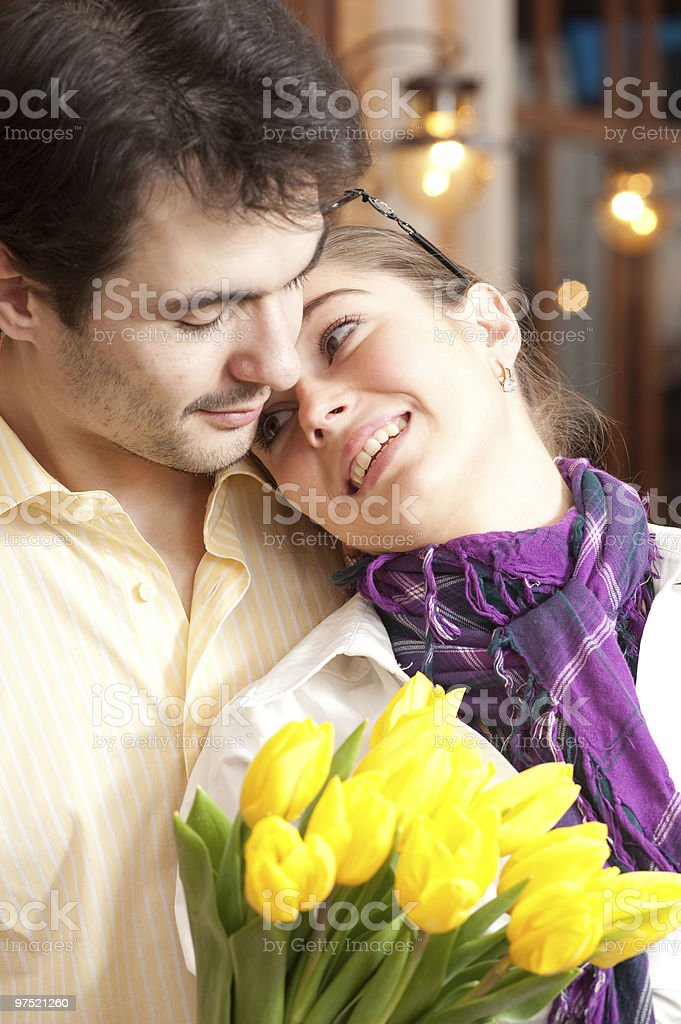 Happy couple with bouquet. Blind Date royalty-free stock photo