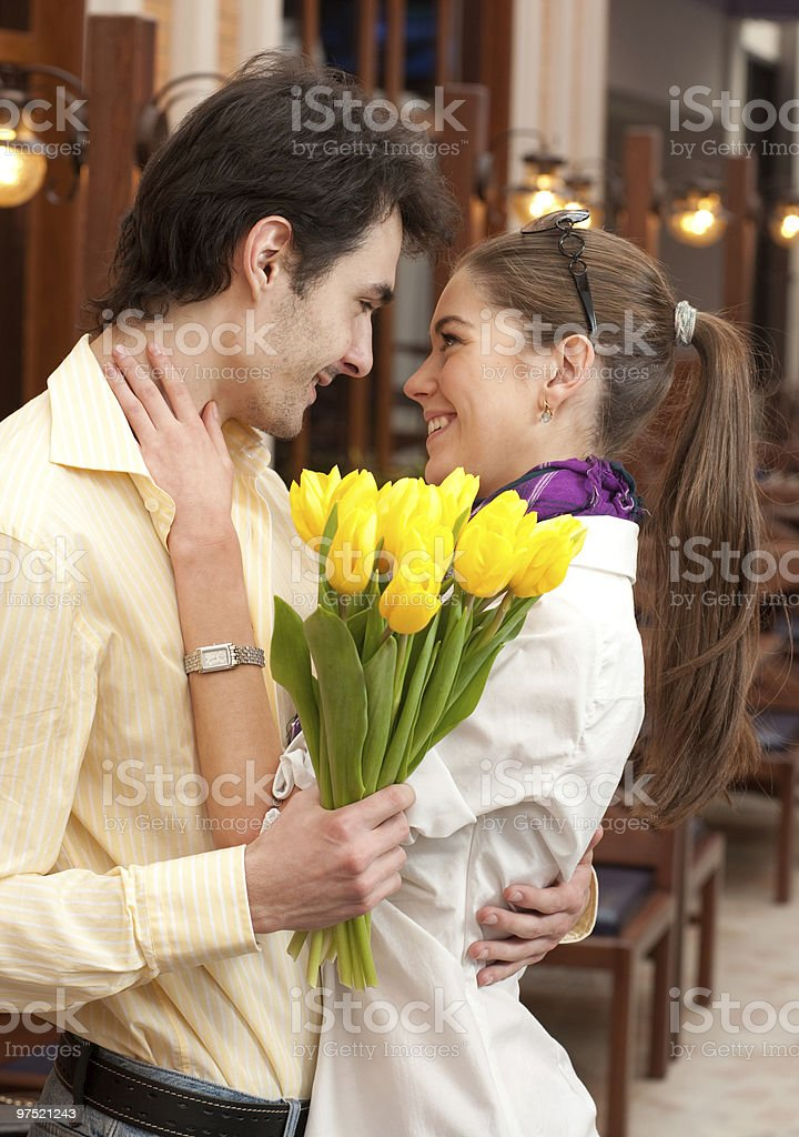 Happy couple with bouquet royalty-free stock photo