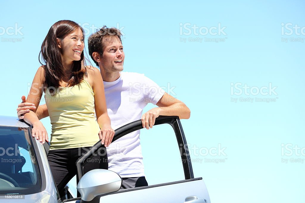 Happy Couple with car royalty-free stock photo