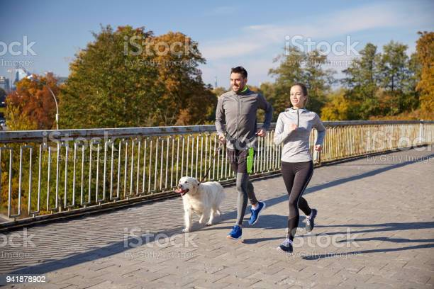 Happy couple with dog running outdoors picture id941878902?b=1&k=6&m=941878902&s=612x612&h=zgepbunkruh03r5hdci wdqsvaohz e3ghargna7nxm=