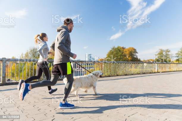 Happy couple with dog running outdoors picture id942325938?b=1&k=6&m=942325938&s=612x612&h=p4w7qgzwc5mpt1vac3trd7zgw gmsabbfg3j6kiigjq=
