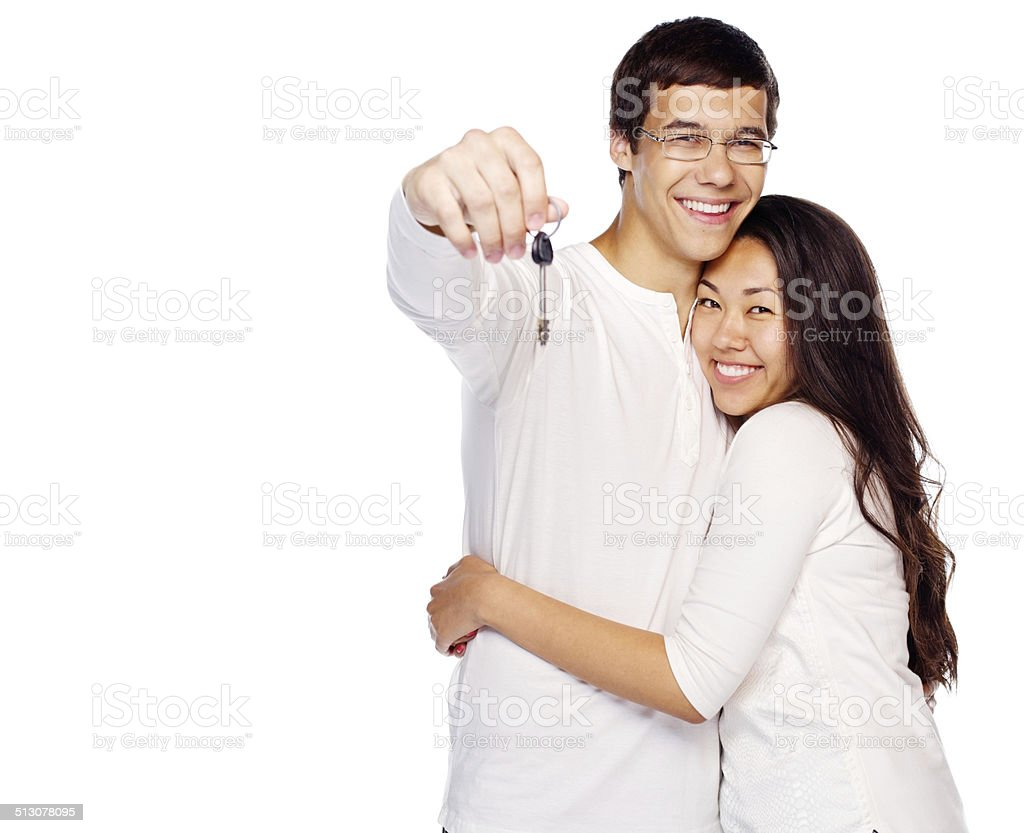 Happy couple with key stock photo