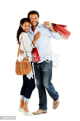 istock Happy couple with shopping bags 453943383