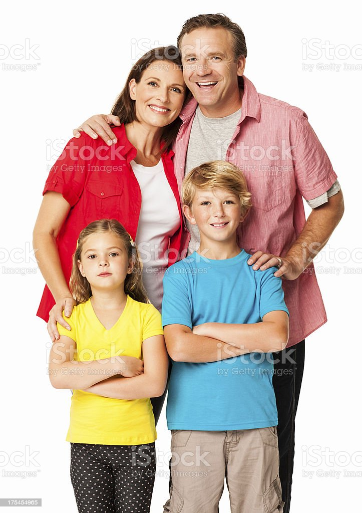Happy Couple With Their Kids - Isolated royalty-free stock photo