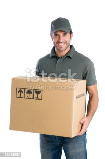 istock Happy courier with box 135519652
