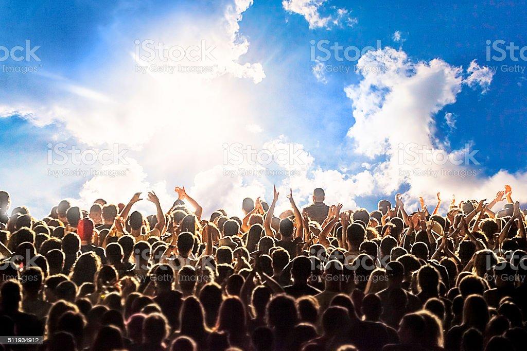 Happy crowd stock photo