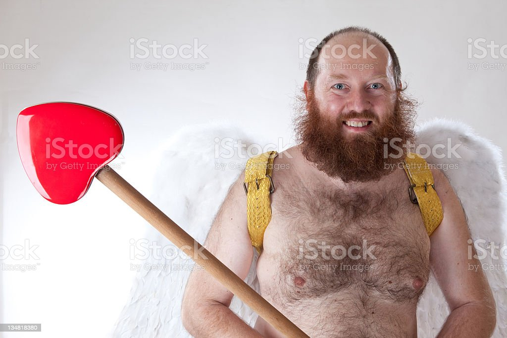 Happy cupid with spear royalty-free stock photo