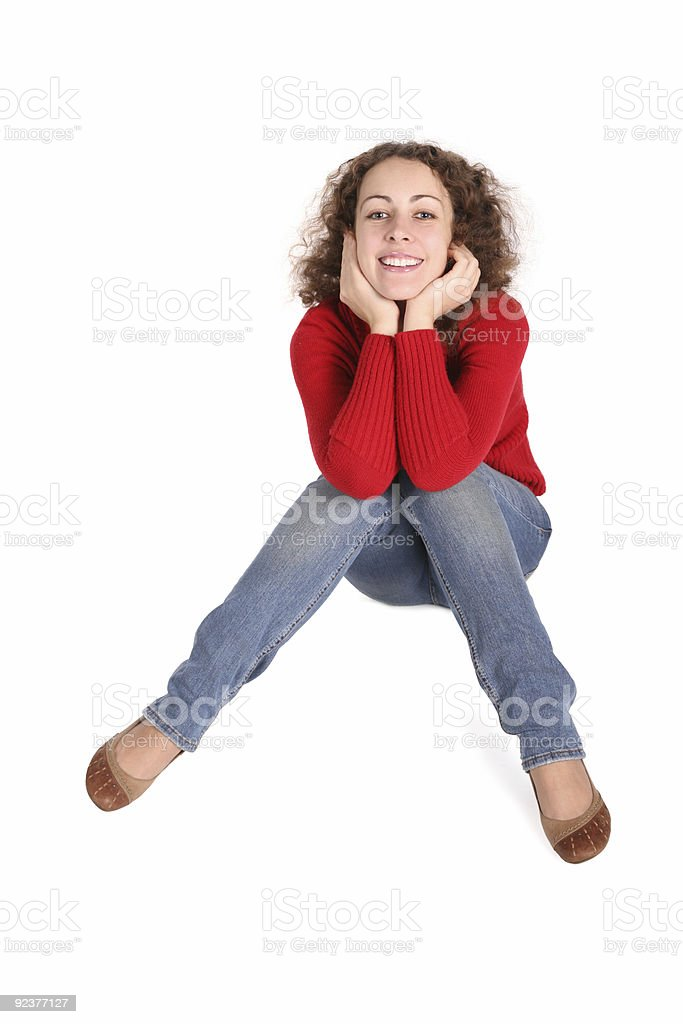 happy curly girl sit stock photo