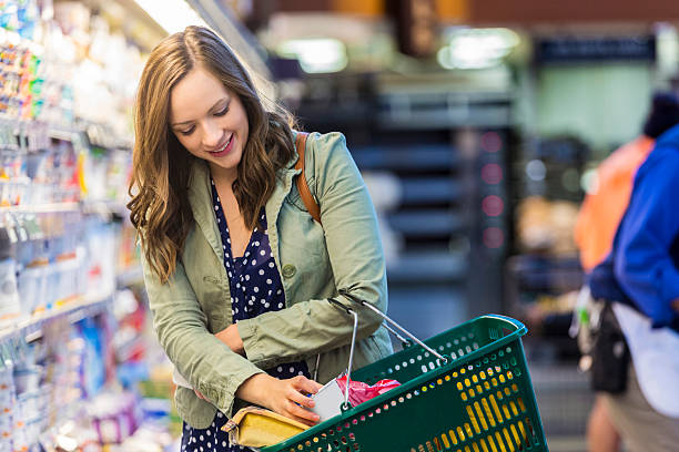 happy customer at grocery store - happy person buy appliances stock photos and pictures