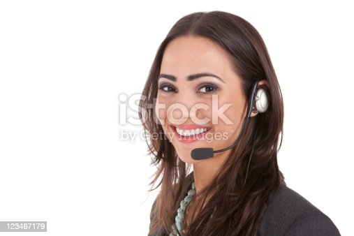 istock A happy customer service representative wearing a headset 123467179