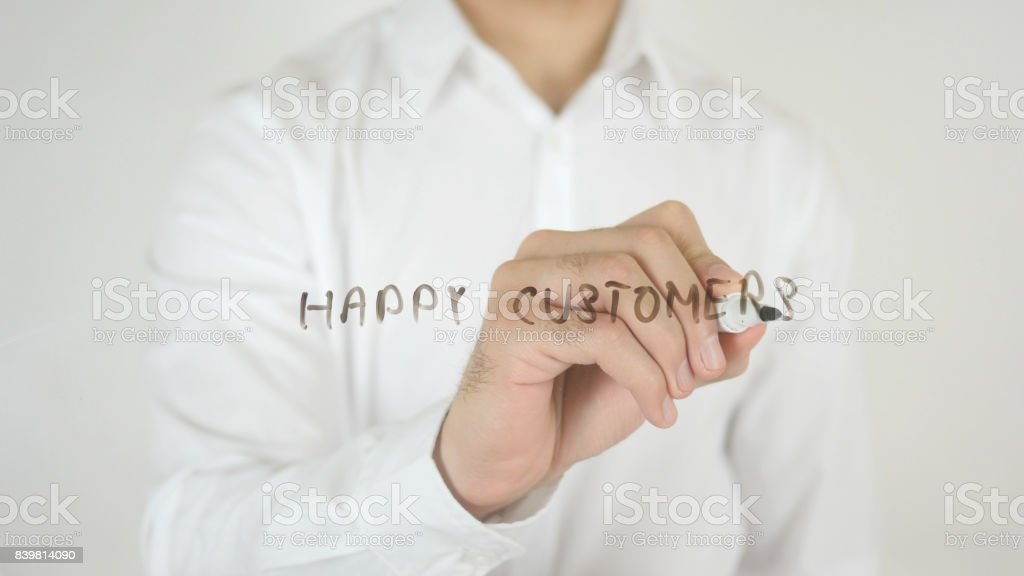 Happy Customers, Written on Glass stock photo