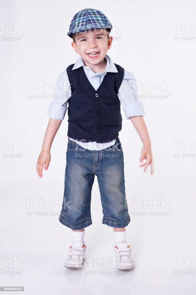 Happy Cute  boy over white background stock photo