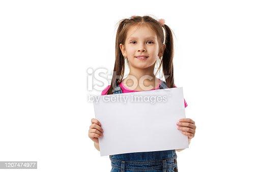 519837800 istock photo Happy cute child girl holding empty blank 1207474977