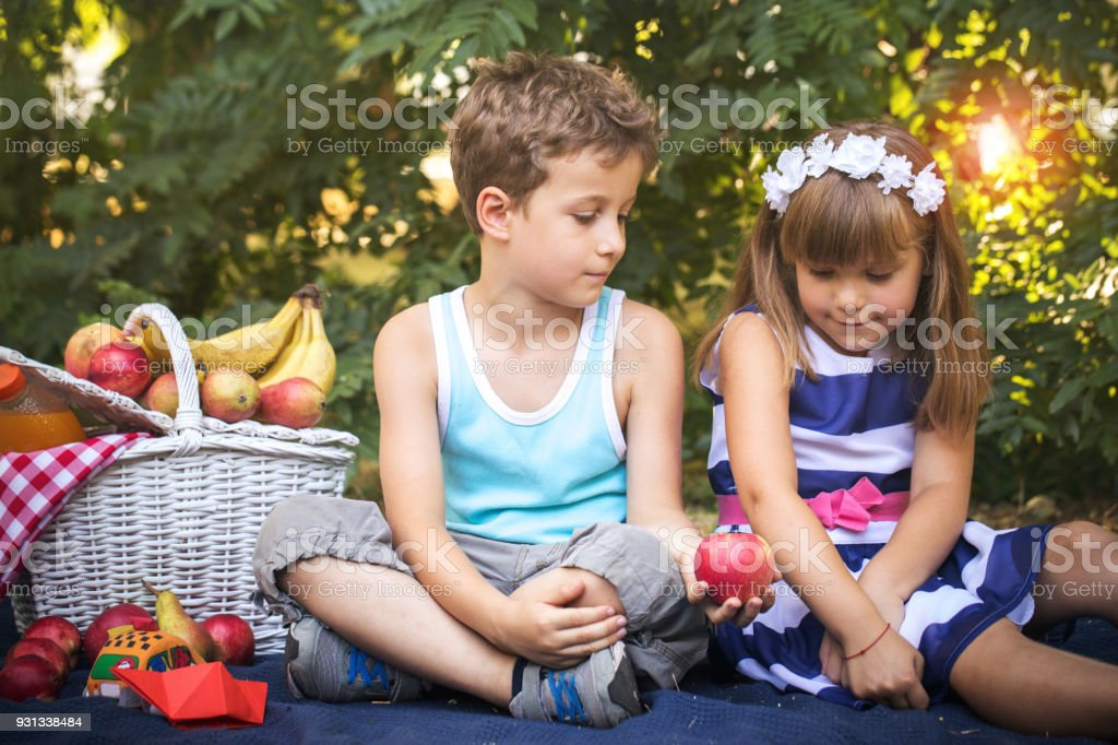 Images of cute little girl and boy