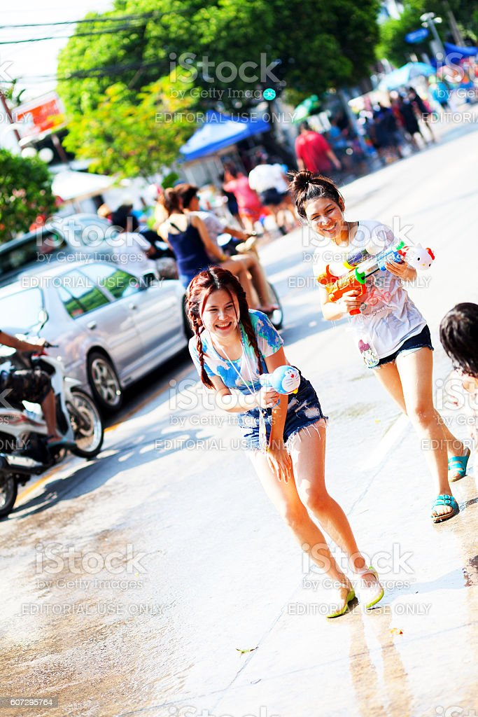 Happy Cute Thai Girls At Songkhran Festival In Bangkok Stock