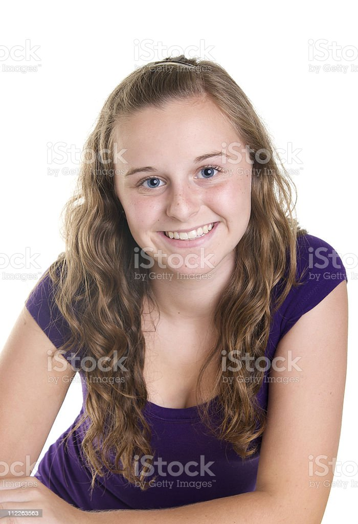 Happy Cute Twelve Year Old Girl On White Background Stock Photo
