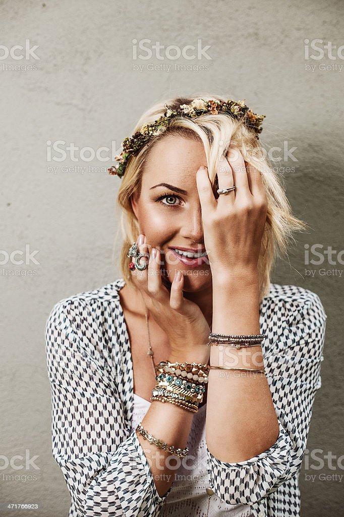 Happy cute woman hiding royalty-free stock photo