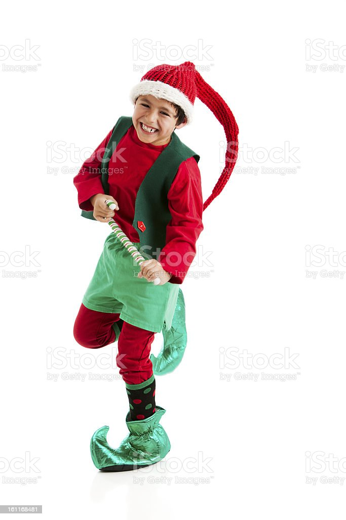 Happy Dancing Hispanic Christmas Elf Santas Helper stock photo
