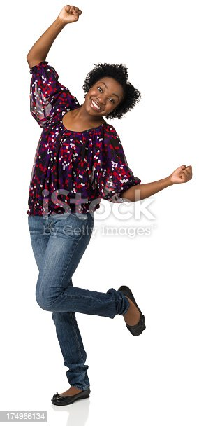 166407266istockphoto Happy Dancing Young Woman Standing On White Background 174966134