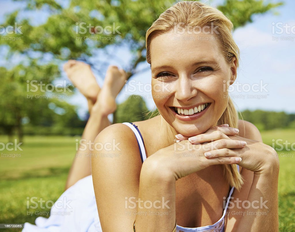 Happy days in the park royalty-free stock photo