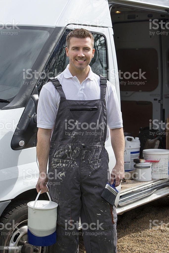 Happy Decorator stock photo