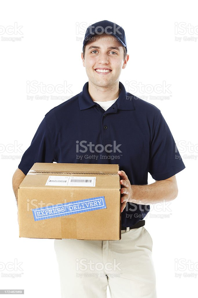 Happy Delivery Man with Package in Hand on White stock photo