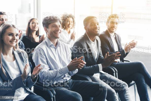 Happy diverse audience applauding at business seminar picture id1133819400?b=1&k=6&m=1133819400&s=612x612&h= ws4krirfjxjs3nscetop0d9zp5rzcdermu9xmscdrq=