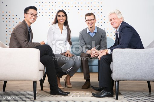 istock Happy Diverse Business Partners Sitting in Lounge 637322140