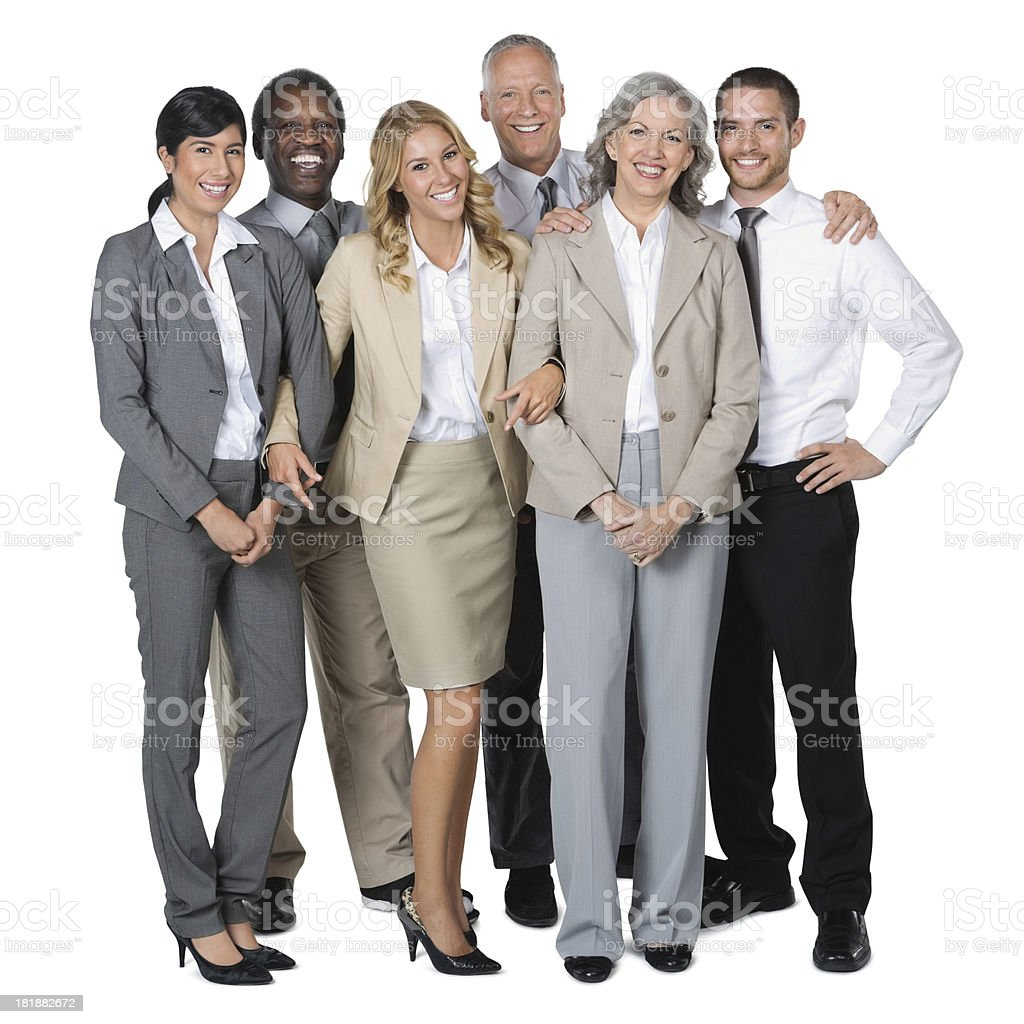 Happy diverse business team wearing professional clothing; studio shot stock photo