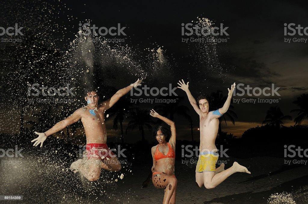 Happy diverse group jumping royalty-free stock photo