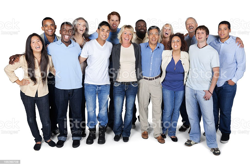 Happy diverse group of adults on white background stock photo