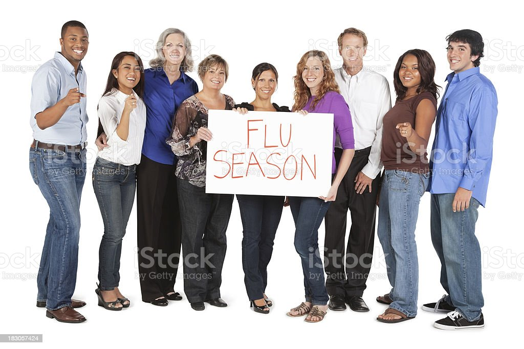 Happy Diverse Group of People Holding Flu Season Sign royalty-free stock photo