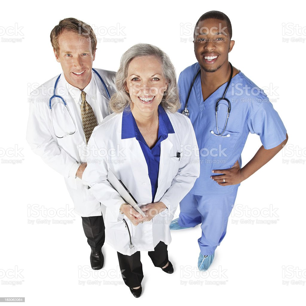 Happy Doctor and Nurse Team Looking Up, Isolated on White royalty-free stock photo