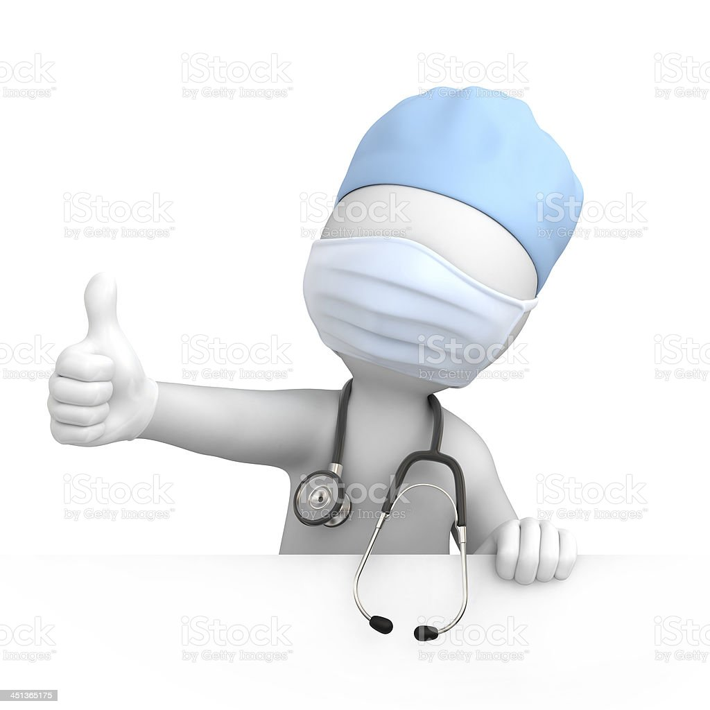 Happy doctor with thumb up stock photo