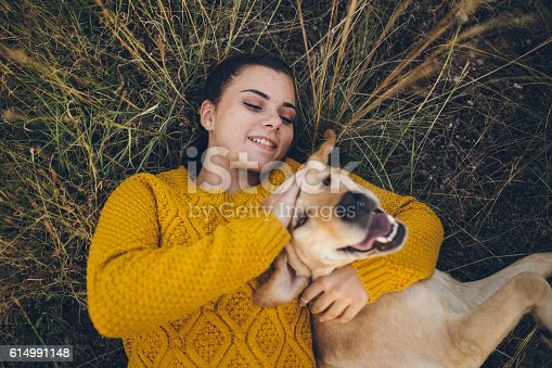 istock Happy dog and his favorite person playing in grass 614991148