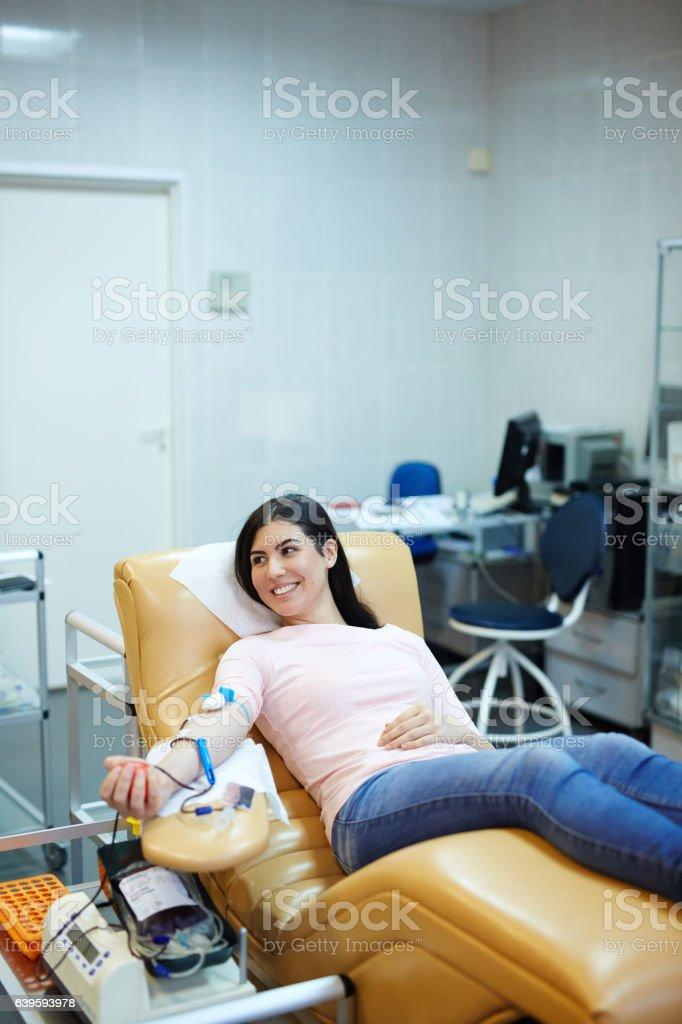 Happy donor stock photo