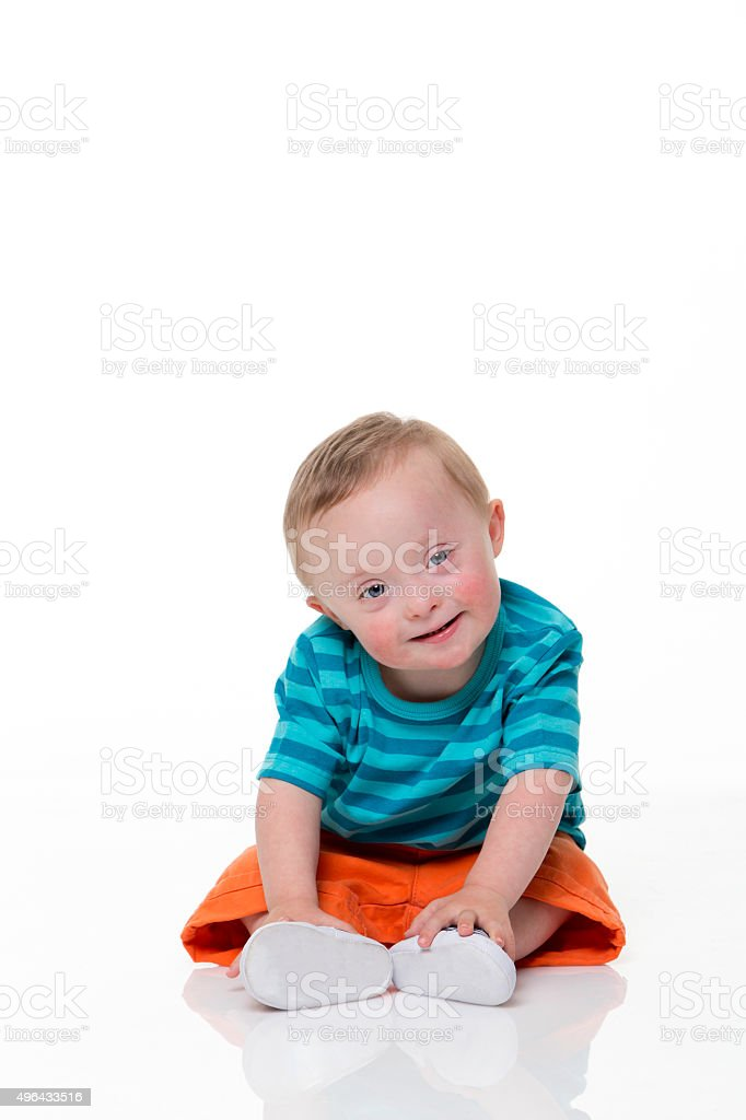 Happy Downsyndrome Baby stock photo