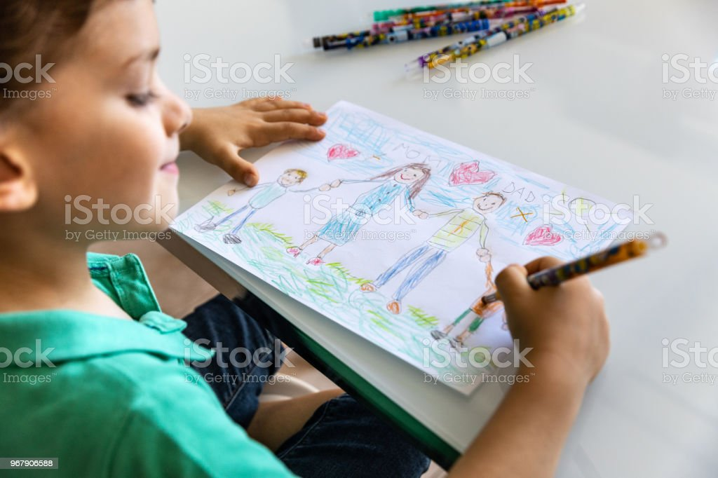 Happy drawings with family at home - Kids having fun drawing papers...