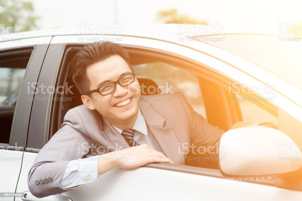 Happy driver on the road foto stock royalty-free