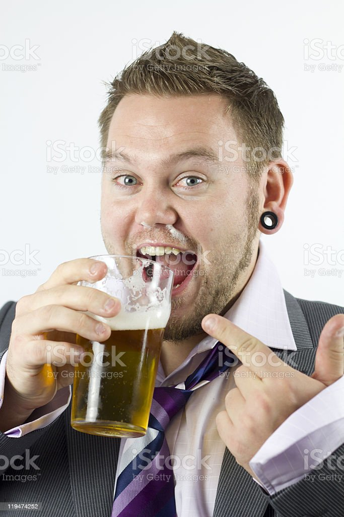Happy Drunk and Pointing Office Worker royalty-free stock photo